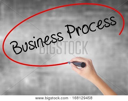 Woman Hand Writing Business Process  With Black Marker Over Transparent Board.