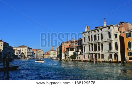Venice Grand Canal panoramic view near Accademia Bridge