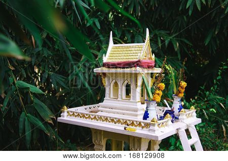 Thai house for spirits. Buddhism. Belief in spirits