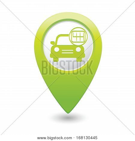 Car service. Car with shift icon on the green map pointer