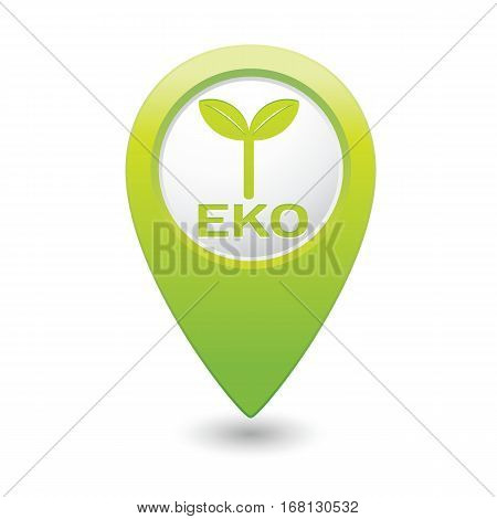 Green map pointer with Eco icon, ecological sign. Vector illustration