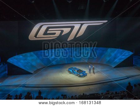 DETROIT MI/USA - JANUARY 12 2015: Ford Executive Chairman Bill Ford and CEO Mark Fields / 2016 Ford GT at the North American International Auto Show (NAIAS). 2015 EyesOn Design Best Designed Production Vehicle.