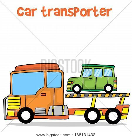 Vector illustration of car transporter collection stock