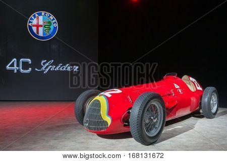 DETROIT MI/USA - JANUARY 12 2015: 1951 Alfa Romeo 159 Alfetta #22 Grand prix racecar at the North American International Auto Show (NAIAS). Driver Juan Manuel Fangio.