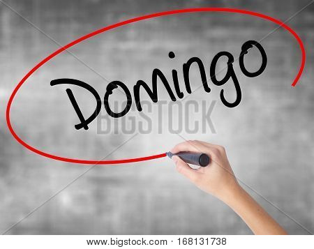 Woman Hand Writing Domingo  (sunday In Spanish/portuguese) With Black Marker Over Transparent Board