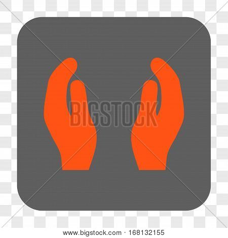 Applause Hands interface toolbar button. Vector icon style is a flat symbol inside a rounded square button orange and gray colors chess transparent background.