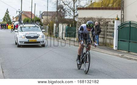 Conflans-Sainte-HonorineFrance-March 62016: The Irish cyclist Matthew Martin Brammeier of Dimension Data Team riding during the prologue stage of Paris-Nice 2016.