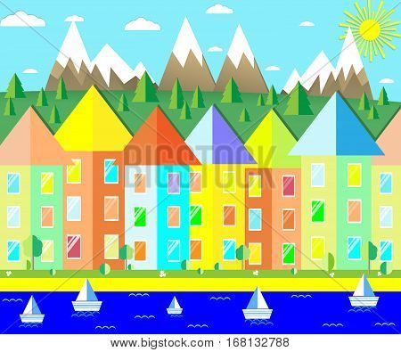 cute town house on the sea coast and the mountain forest vector illustration