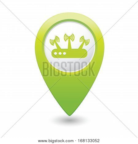 Green map pointer with router icon. Vector illustration