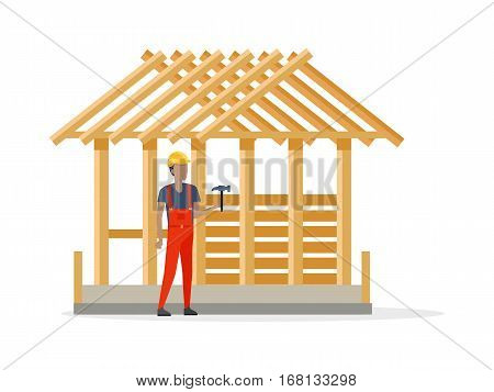 Builder in helmet and special red clothes near constructing house. Man holding hamer. Building consists only of many wooden girders and cement foundation. White background. Vector illustration