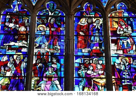 Gournay en Bray France - september 7 2016 : stained glass window of the Saint Hildevert collegiate church