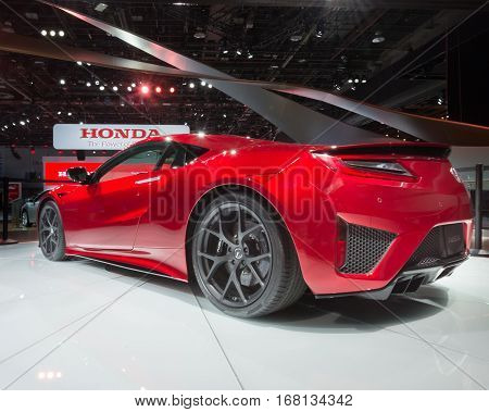 DETROIT MI/USA - JANUARY 13 2015: 2016 Acura NSX car at the North American International Auto Show (NAIAS) one of the most influential car shows in the world each year.