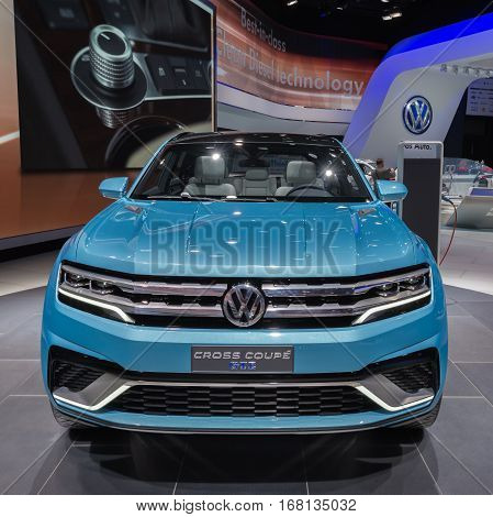 DETROIT MI/USA - JANUARY 13 2015: Volkswagen Cross Coupe GTE car at the North American International Auto Show (NAIAS) one of the most influential car shows in the world each year.