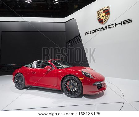 DETROIT MI/USA - JANUARY 13 2015: Porsche 911 Targa 4 GTS car at the North American International Auto Show (NAIAS) one of the most influential car shows in the world each year.