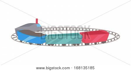 Trains with railroad. Railroad traffic way and toy train. Toy train icon. Railroad train transportation. Children s toy. Isolated object on white background. Vector illustration.