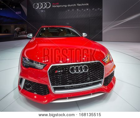 DETROIT MI/USA - JANUARY 13 2015: Audi RS7 Quattro car at the North American International Auto Show (NAIAS) one of the most influential car shows in the world each year.