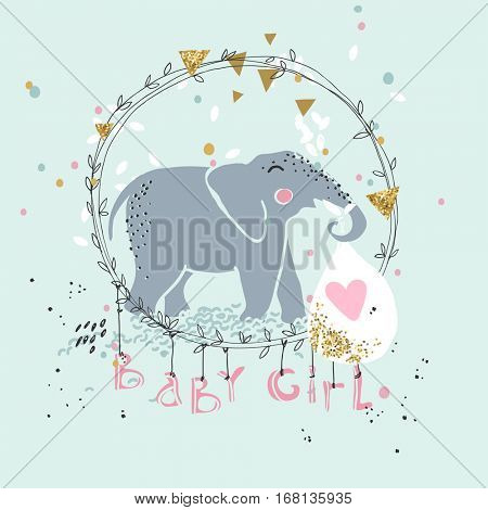 baby announcemet card with cute elephant