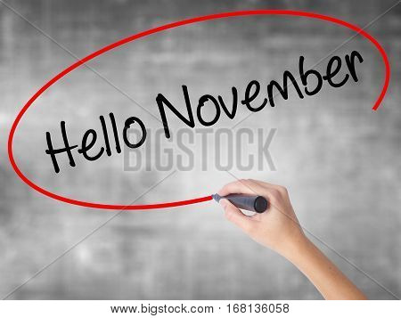 Woman Hand Writing Hello November With Black Marker Over Transparent Board