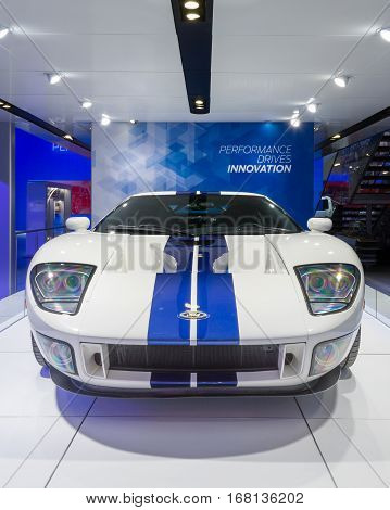 DETROIT MI/USA - JANUARY 13 2015: 1967 Ford GT at the North American International Auto Show (NAIAS) one of the most influential car shows in the world each year.
