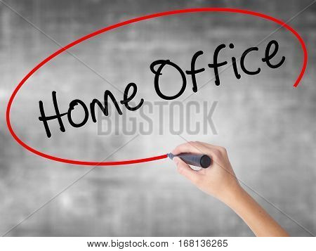 Woman Hand Writing Home Office With Black Marker Over Transparent Board