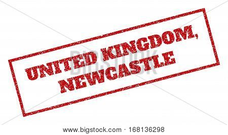 Red rubber seal stamp with United Kingdom, Newcastle text. Vector tag inside rectangular shape. Grunge design and scratched texture for watermark labels. Inclined emblem.