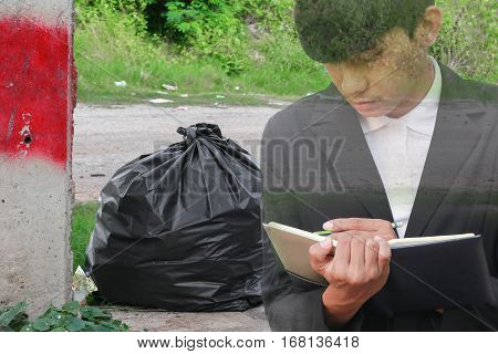 businessman with notepad hand signing rid in industry garbage bag black double exposure concept .