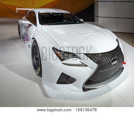DETROIT MI/USA - JANUARY 13 2015: Lexus RC F GT3 concept racecar at the North American International Auto Show (NAIAS) one of the most influential car shows in the world each year.