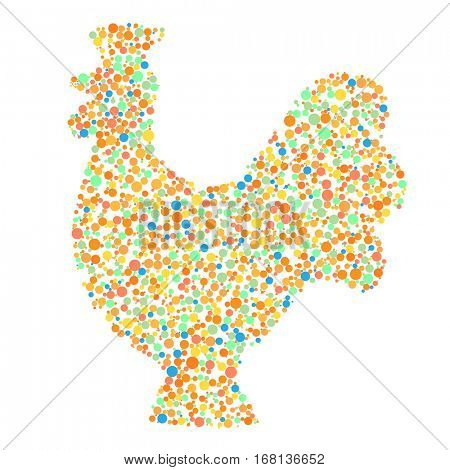 Cock in the mosaic isolated on white background. Symbol of the Chinese New Year 2017.  illustration.