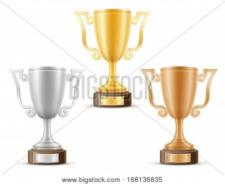 Cup Winner Gold Silver Bronze Stock Vector Illustration