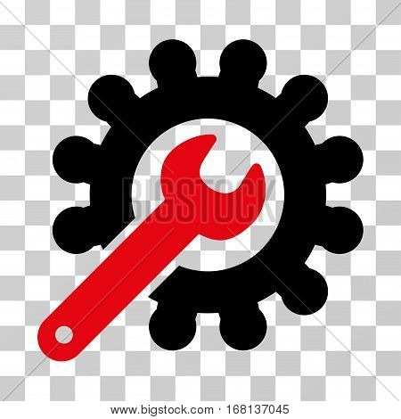 Wrench And Gear Customization Tools icon. Vector illustration style is flat iconic bicolor symbol, intensive red and black colors, transparent background. Designed for web and software interfaces.