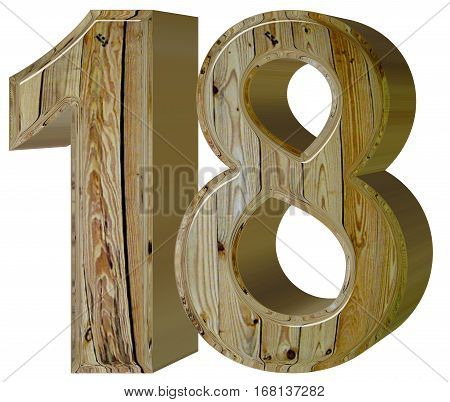 Numeral 18, Eighteen, Isolated On White Background, 3D Render