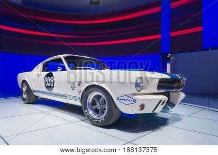 DETROIT MI/USA - JANUARY 14 2015: 1965 Ford Shelby GT350 R Fastback #535 racecar at the North American International Auto Show (NAIAS). Originally sold to racer Benito Lores.