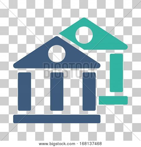 Banks icon. Vector illustration style is flat iconic bicolor symbol, cobalt and cyan colors, transparent background. Designed for web and software interfaces.