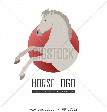 Rearing gray horse with hind legs vector logo. Flat design. Domestic animal. Country inhabitants. For farming, animal husbandry, horse sport illustrating. Agricultural species. Isolated on white