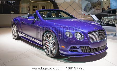 DETROIT MI/USA - JANUARY 14 2015: Bentley Continental GT Speed Convertible car at the North American International Auto Show (NAIAS) one of the most influential car shows in the world each year.