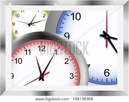 3D Illustration of Clocks in Three Different Colors in a Metallic Frame