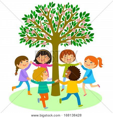 happy kids holding hands and dancing in a circle around a tree
