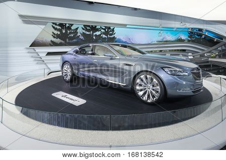 DETROIT MI/USA - JANUARY 14 2015: Buick Avenir concept car at the North American International Auto Show (NAIAS) one of the most influential car shows in the world each year.