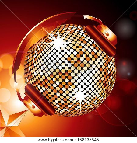 Golden Disco Ball with Headphones Over Glowing Background with Golden Star