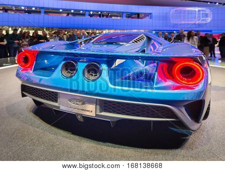 DETROIT MI/USA - JANUARY 14 2015: 2016 Ford GT car at the North American International Auto Show (NAIAS). 2015 EyesOn Design Best Designed Production Vehicle