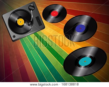 Vintage Striped Background with Turnable and Three Flying Vinyl Discs