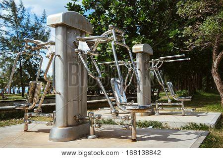 Outdoor fitness. Outdoor fitness equipment. Training apparatus
