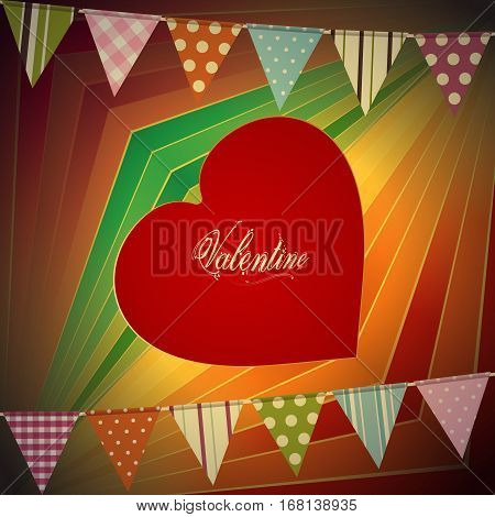 Red Valentine Heart with Text Over Vintage Striped Background with Bunting