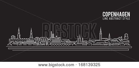 Cityscape Building Line art Vector Illustration design - Copenhagen city