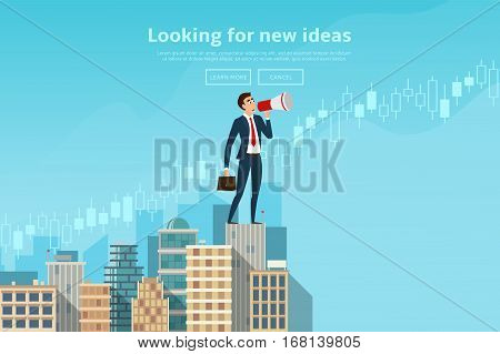 Businessman stands with loudspeaker. Concept of web banner with person looking for new ideas. Modern flat design of urban landscape with city buildings. Vector illustration.