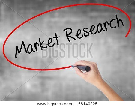 Woman Hand Writing Market Research With Black Marker Over Transparent Board.