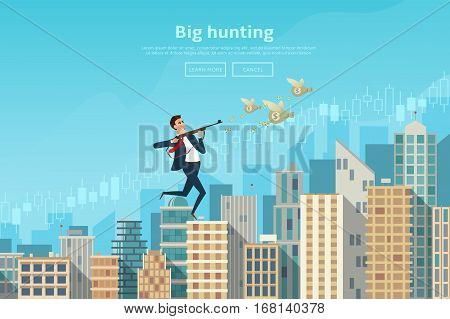 Businessman running with a gun for bags with money. Vector illustration. Human moving on tops of buildings. Business concept isolated on white background.