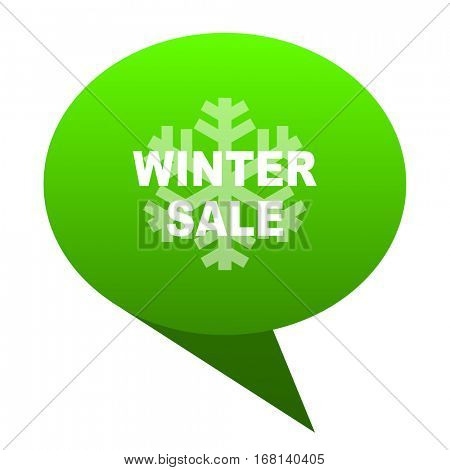 winter sale green bubble web icon