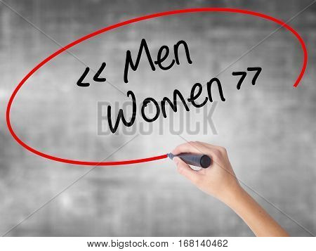 Woman Hand Writing Men - Women With Black Marker Over Transparent Board