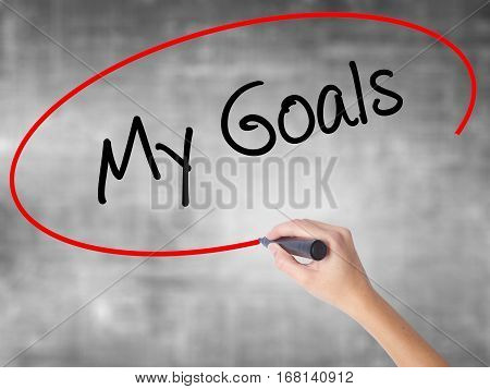 Woman Hand Writing  My Goals With Black Marker Over Transparent Board